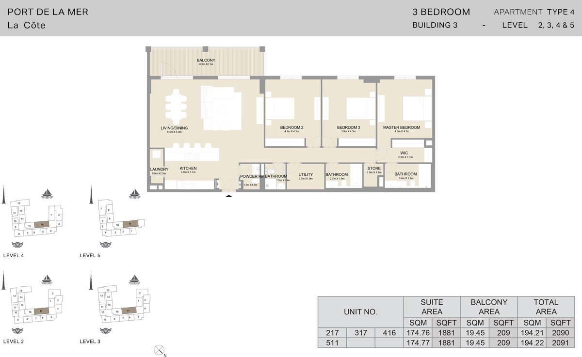3 Bedroom Building 3 Level 2 To 5, Size 2091    sq. ft.
