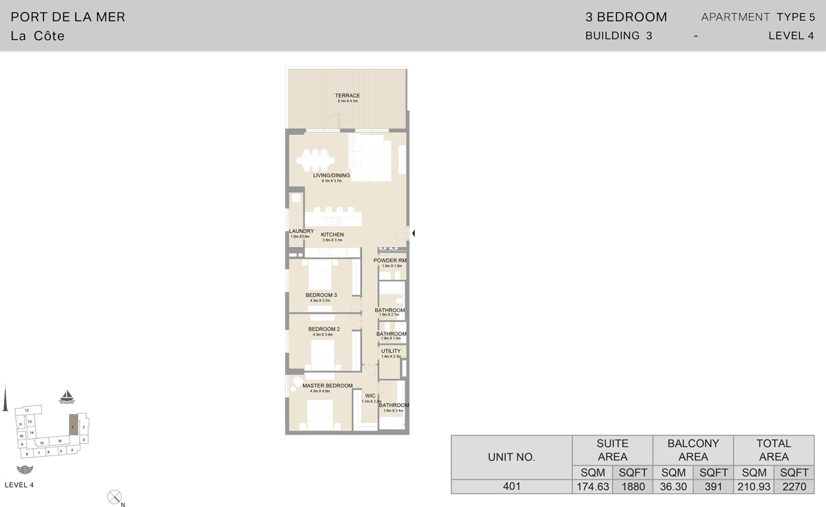 3 Bedroom Building 3 Level 4, Size 2270    sq. ft.