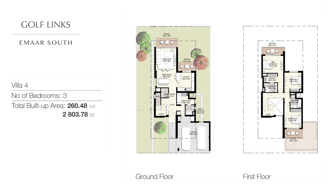 3 Bedroom Villas, Size 2803    sq. ft.