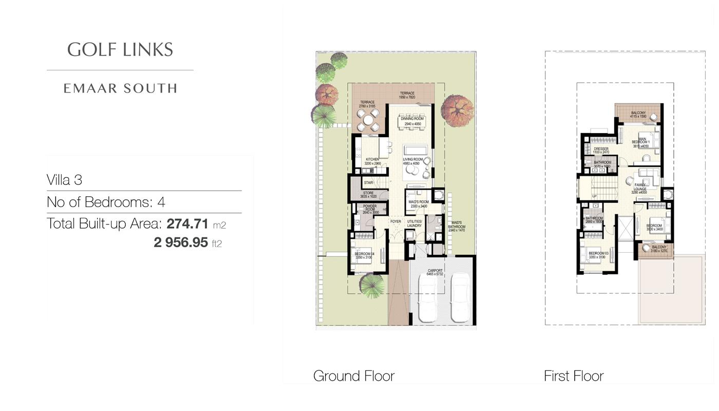 4 Bedroom Villas Type 3, Size 2956    sq. ft.
