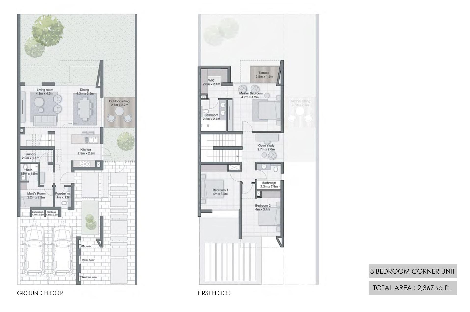 3 Bedroom Corner Unit Size 2367  sq. ft.