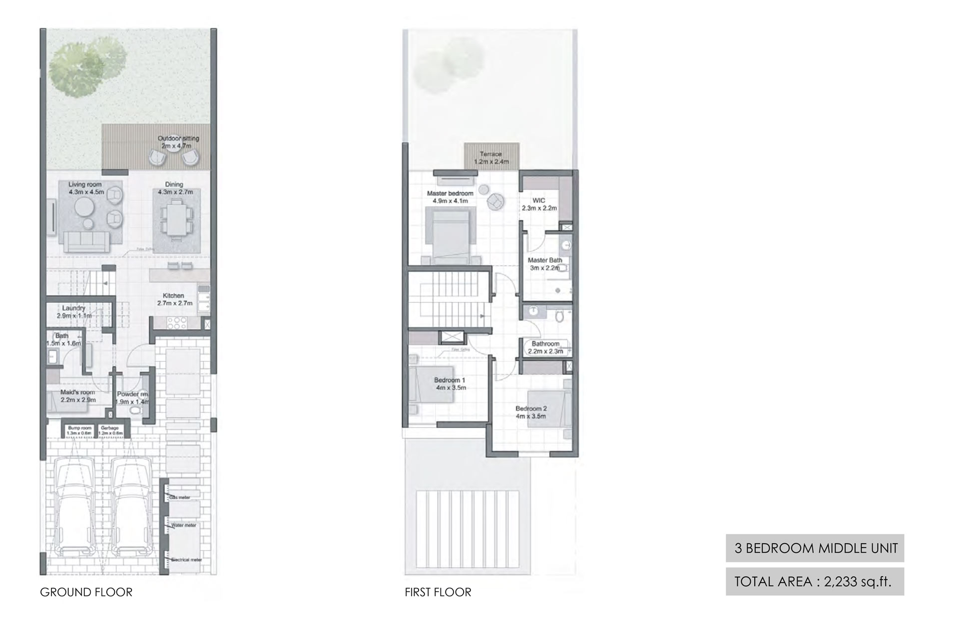 3 Bedroom Middle Unit Size 2233  sq. ft.
