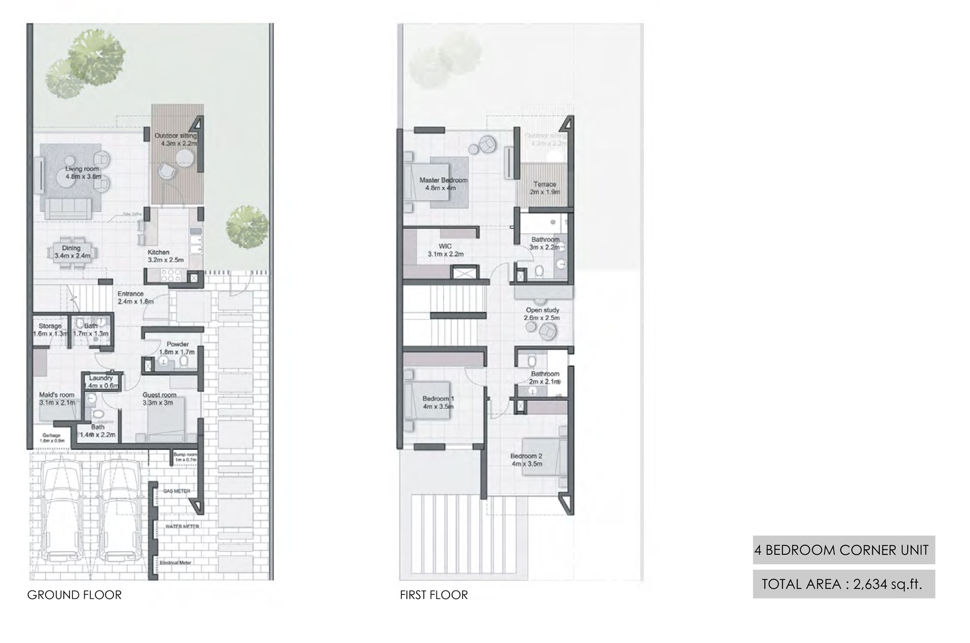 4 Bedroom Corner Unit Size 2634  sq. ft.