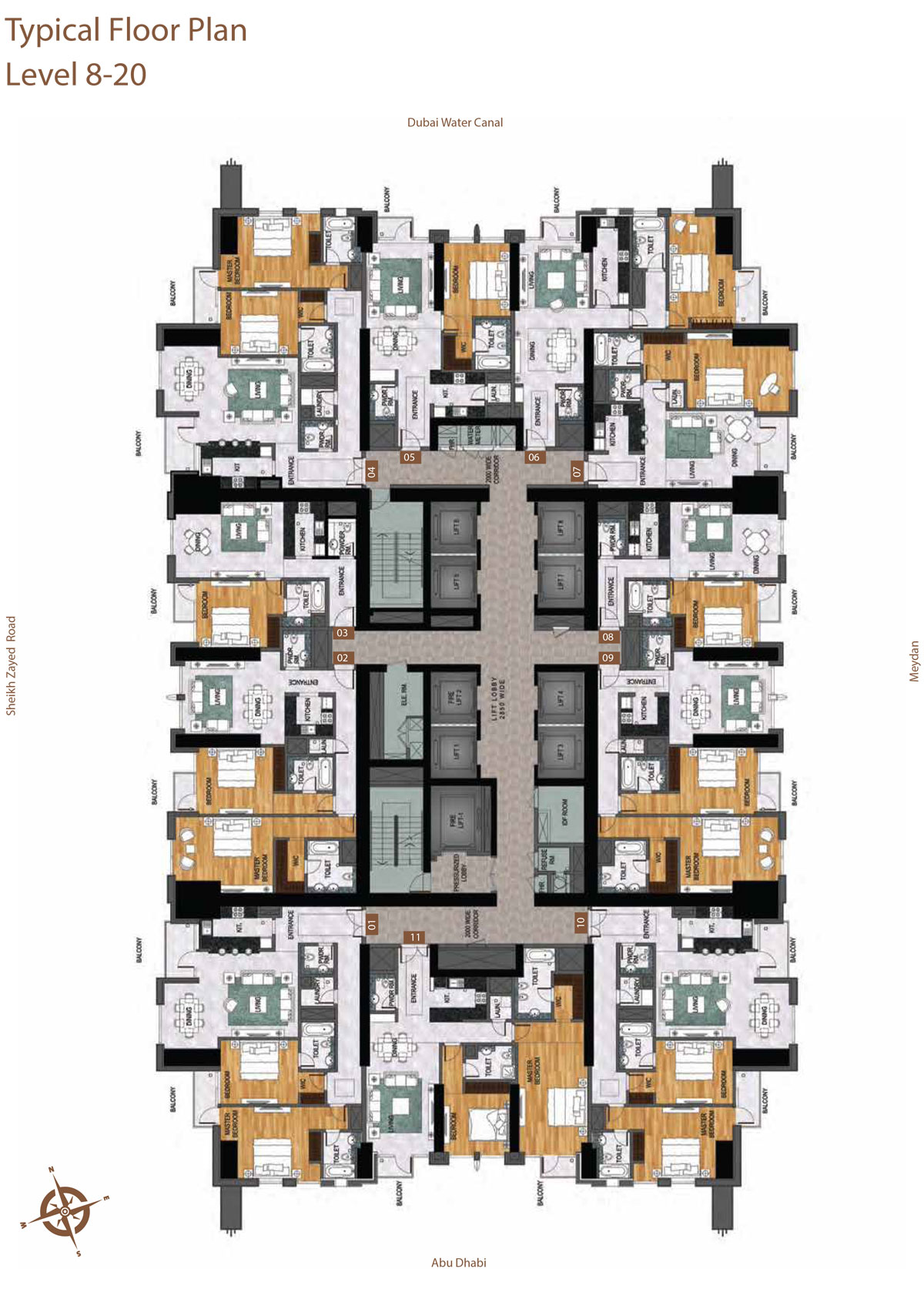 Level 8-20    Typical Floor Layout Plan