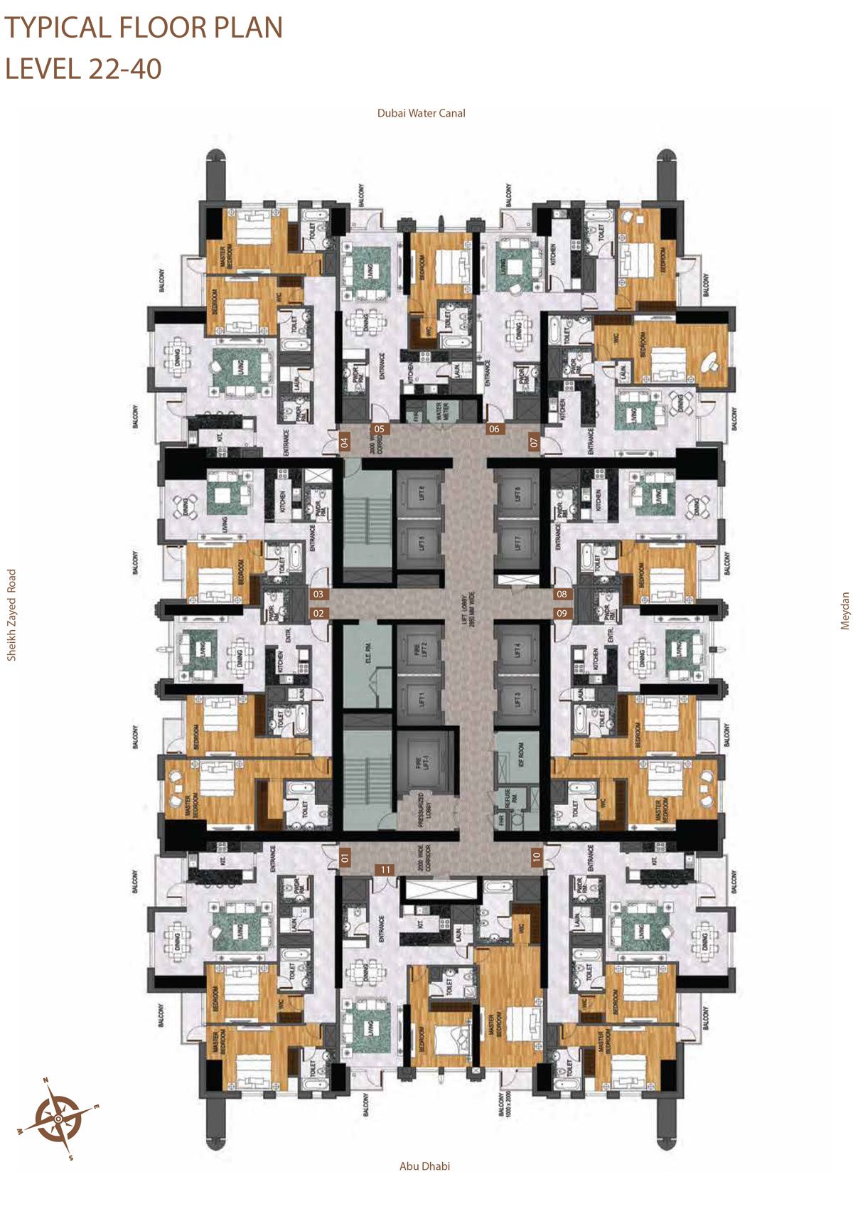 Level 22-40    Typical Floor Layout Plan