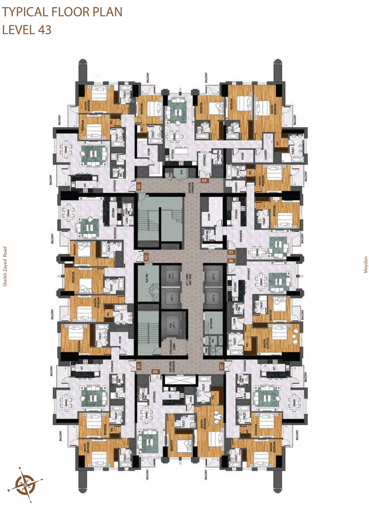 Level 43     Typical Floor Layout Plan