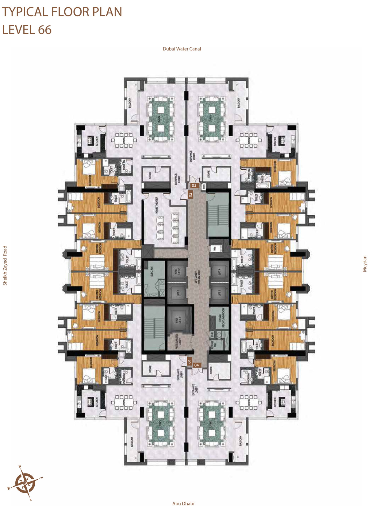 Level 66     Typical Floor Layout Plan