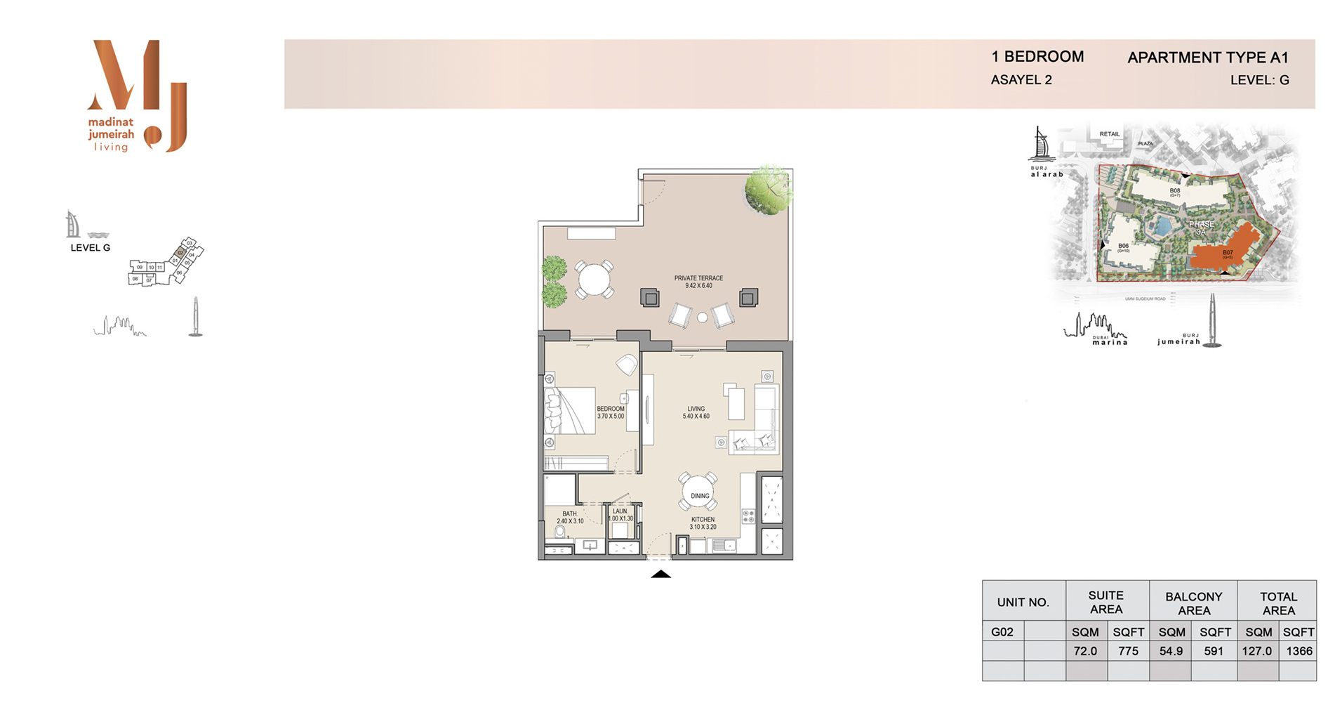 Building-2, 1 Bed Type A1 Level-G, Size 1366    sq. ft.