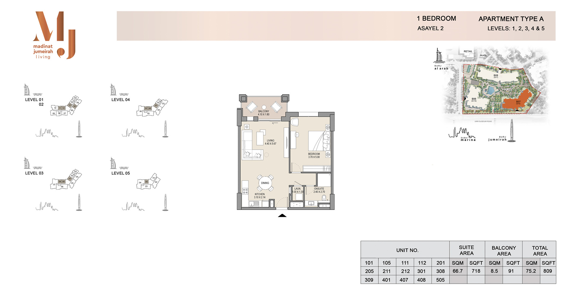 Building-2,-1 Bed Type A Level 1 to 5, Size 809    sq. ft.