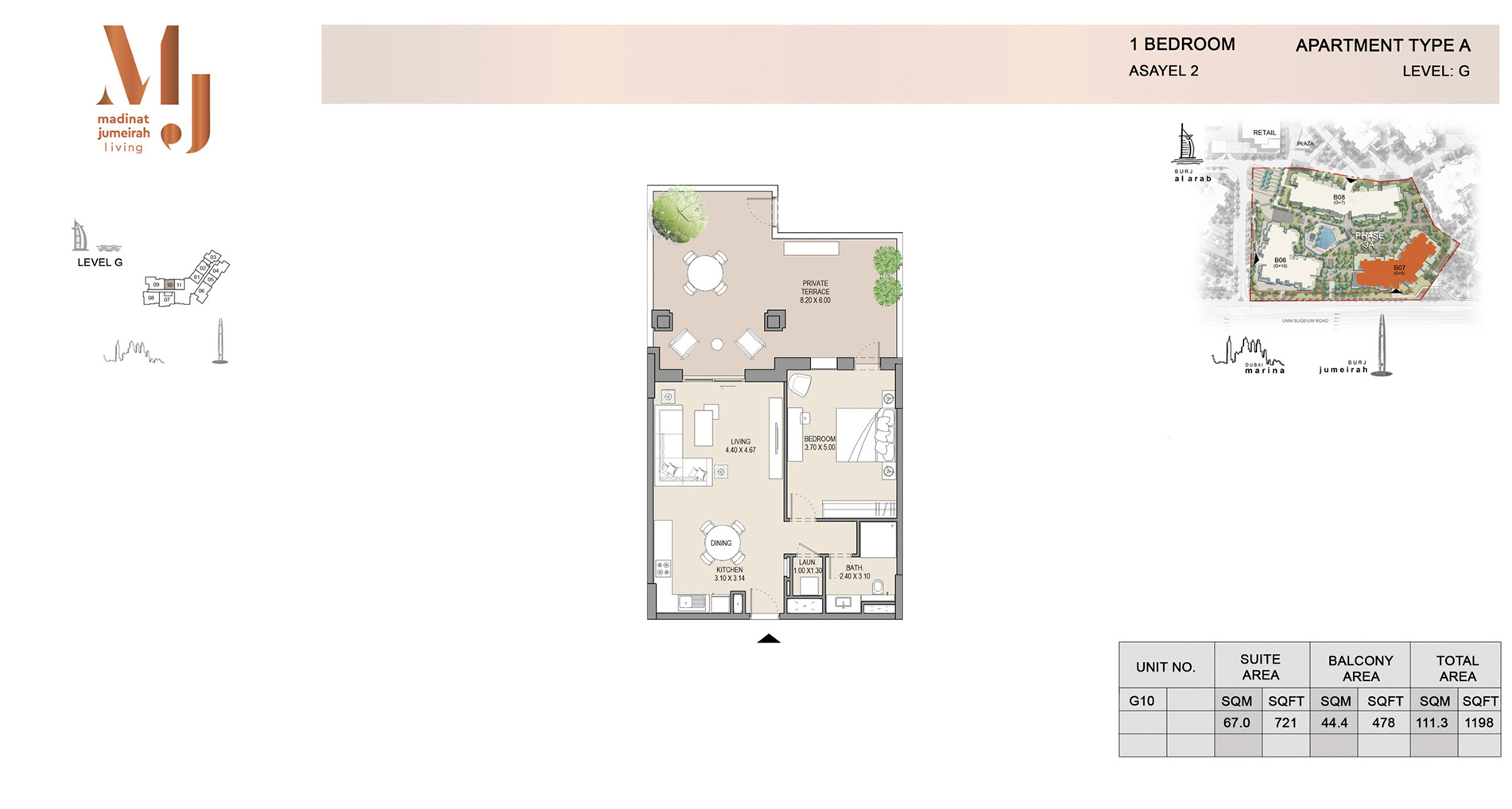 Building-2,-1-Bed-Type-A Level G, Size 1198    sq. ft.
