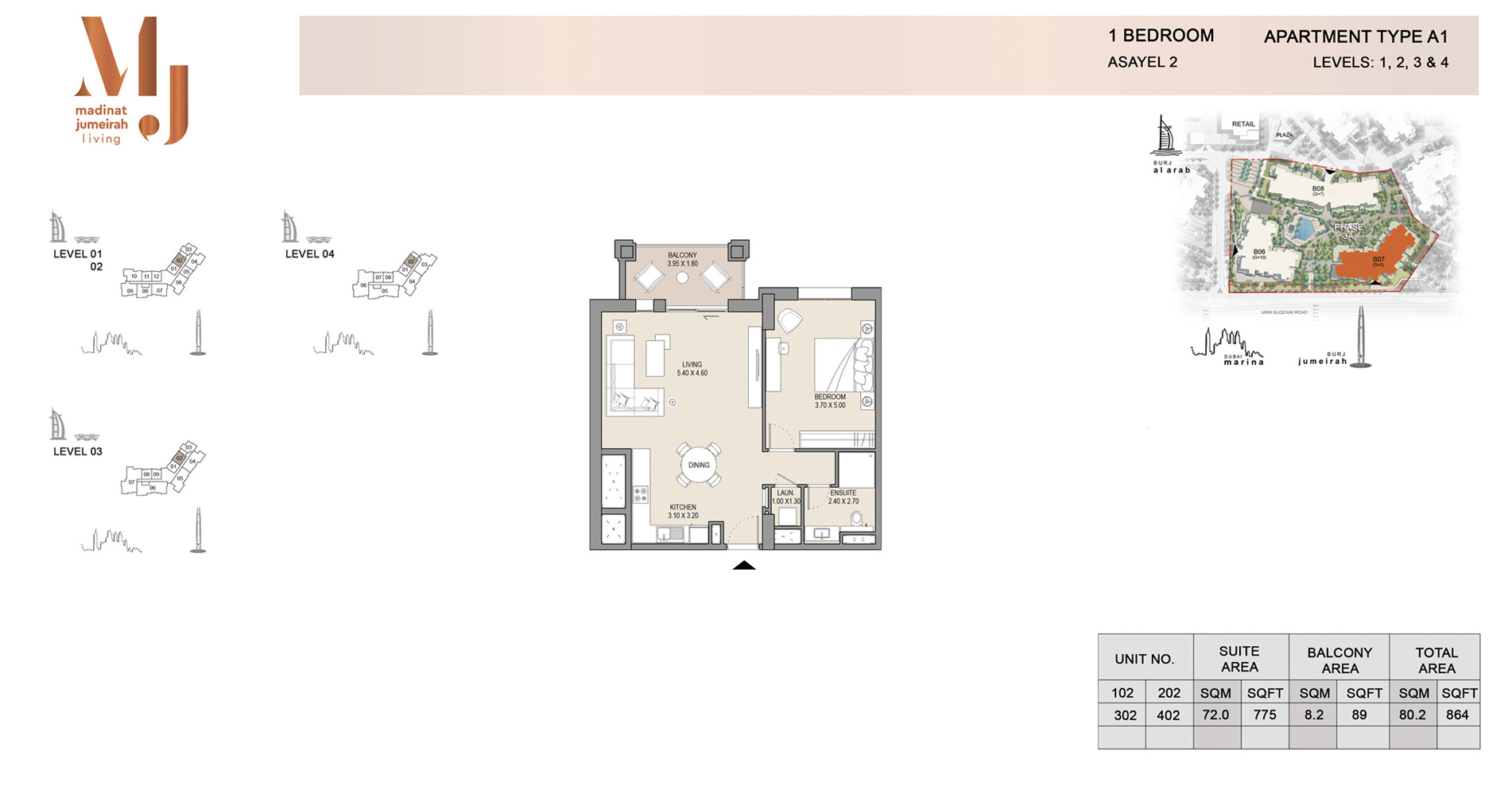 Building-2, 1 Bed Type A Level G, Size 1199    sq. ft.