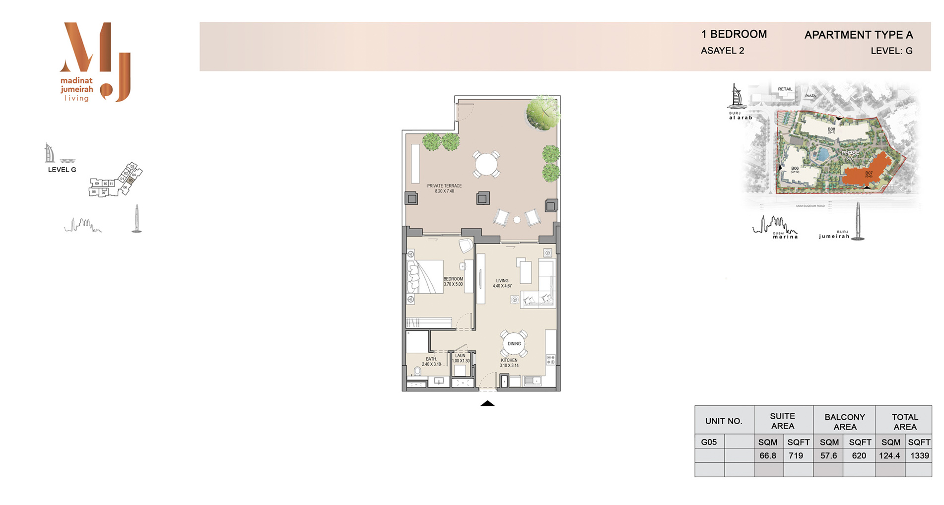 Building-2, 1 Bed Type A Level G, Size 1339    sq. ft.