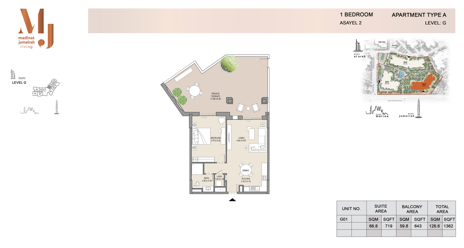 Building-2, 1 Bed Type A Level G, Size 1362    sq. ft.