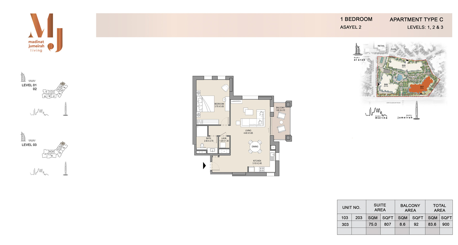 Building 2, 1 Bed Type C Level 1 to 3, size 900    sq. ft.