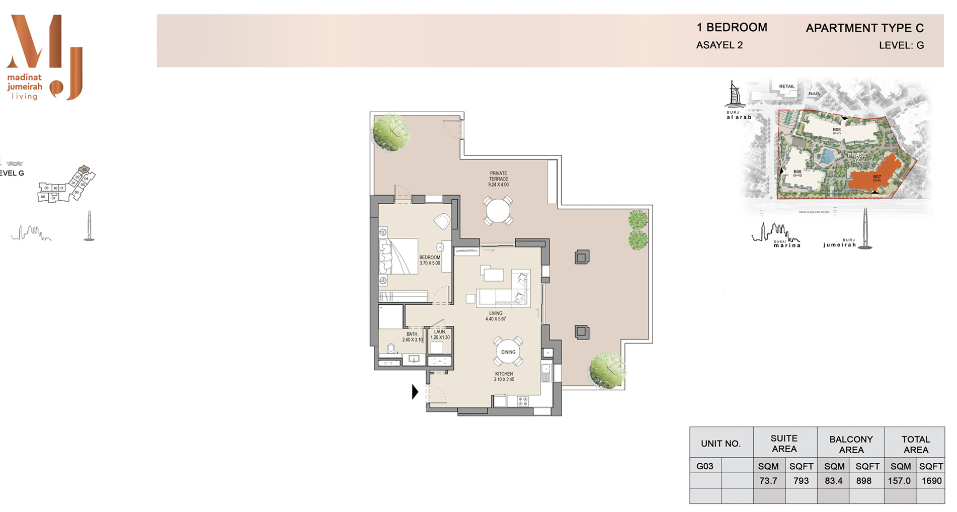 Building 2, 1-Bed Type C Level G, Size 1690    sq. ft.