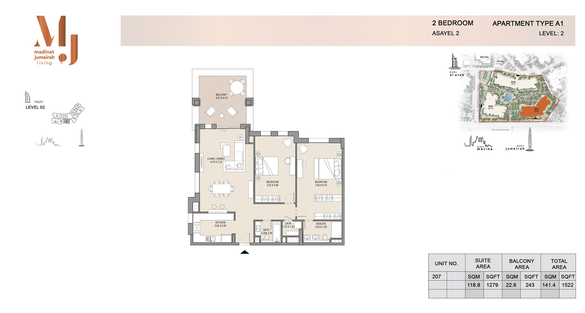 Building 2, 2 Bed Type A1 Level 2, Size 1522    sq. ft.