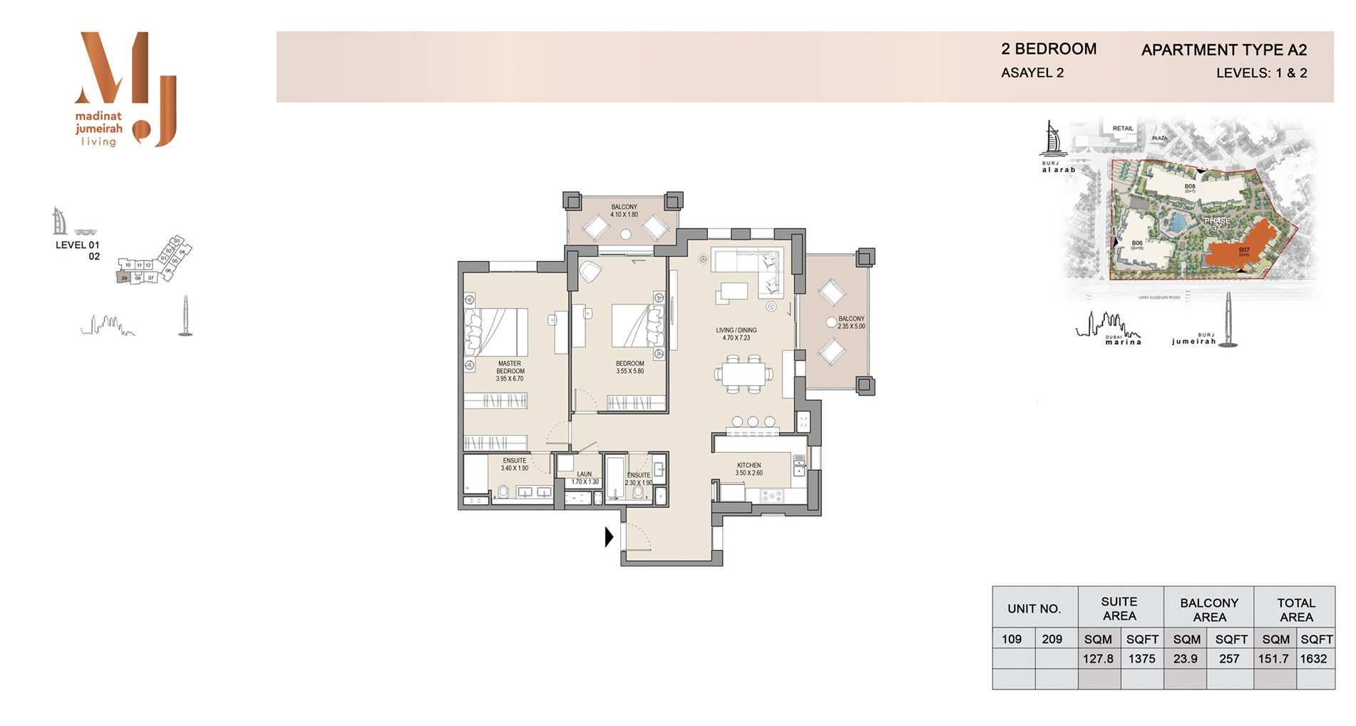 Building 2, 2 Bed Type A2 Level 1 to 2, Size 1632    sq. ft.