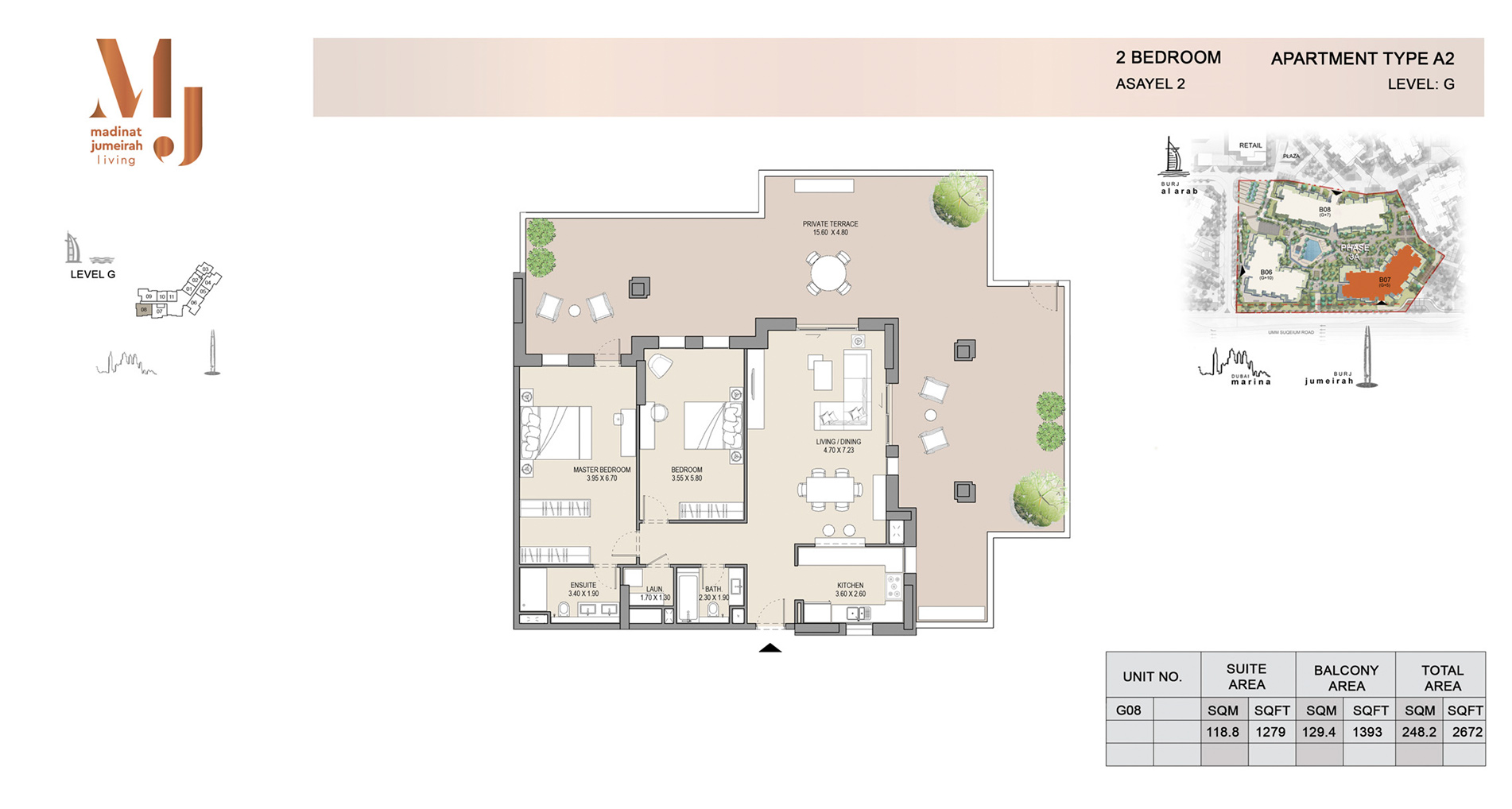 Building 2, 2 Bed Type A2 Level G, Size 2672    sq. ft.