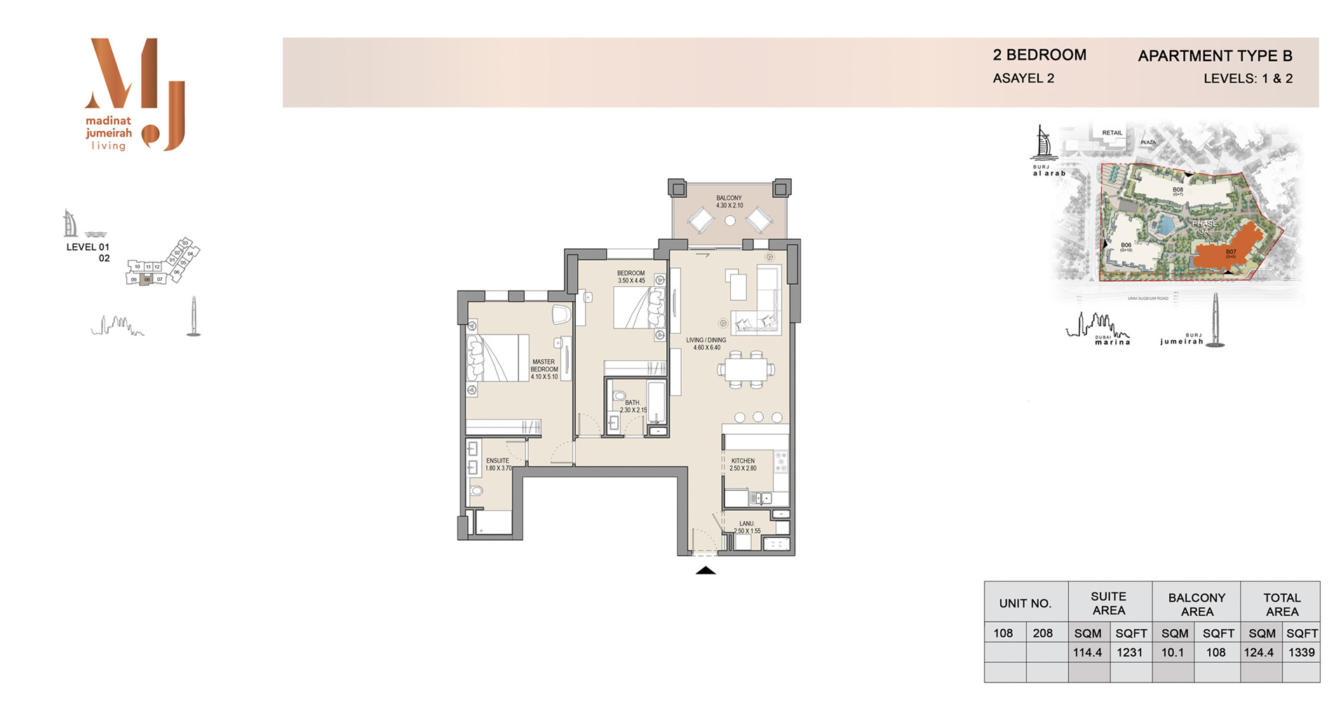 Building 2, 2 Bed Type B Level 1 to 2, Size 1339    sq. ft.