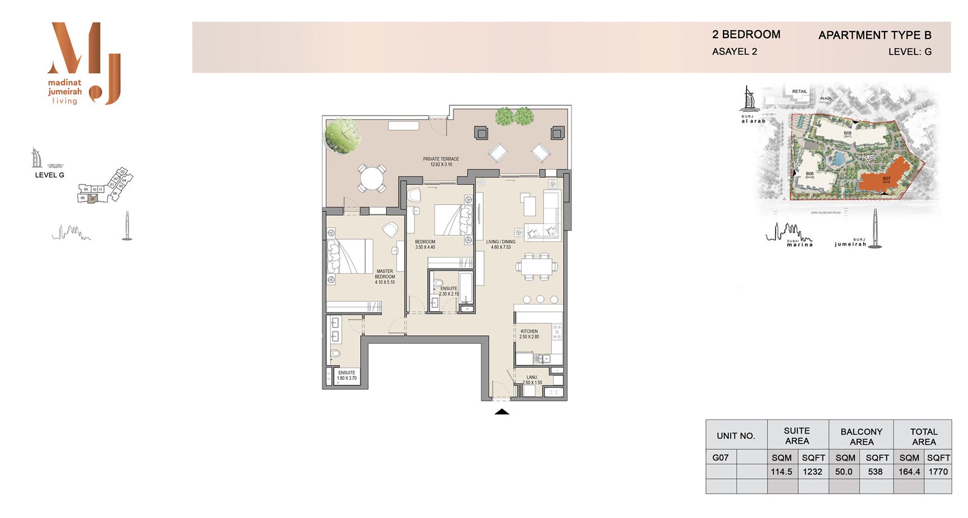 Building 2, 2 Bed Type B Level G, Size 1770    sq. ft.