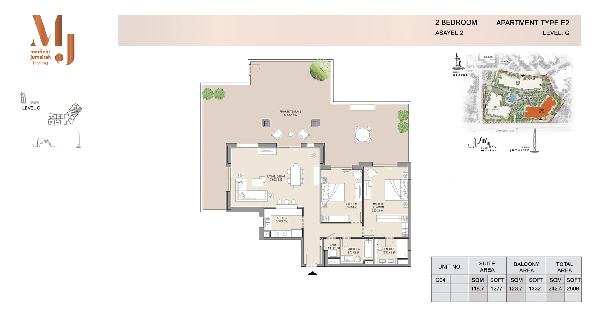Building 2, 2 Bed Type E2 Level G, Size 2609    sq. ft.