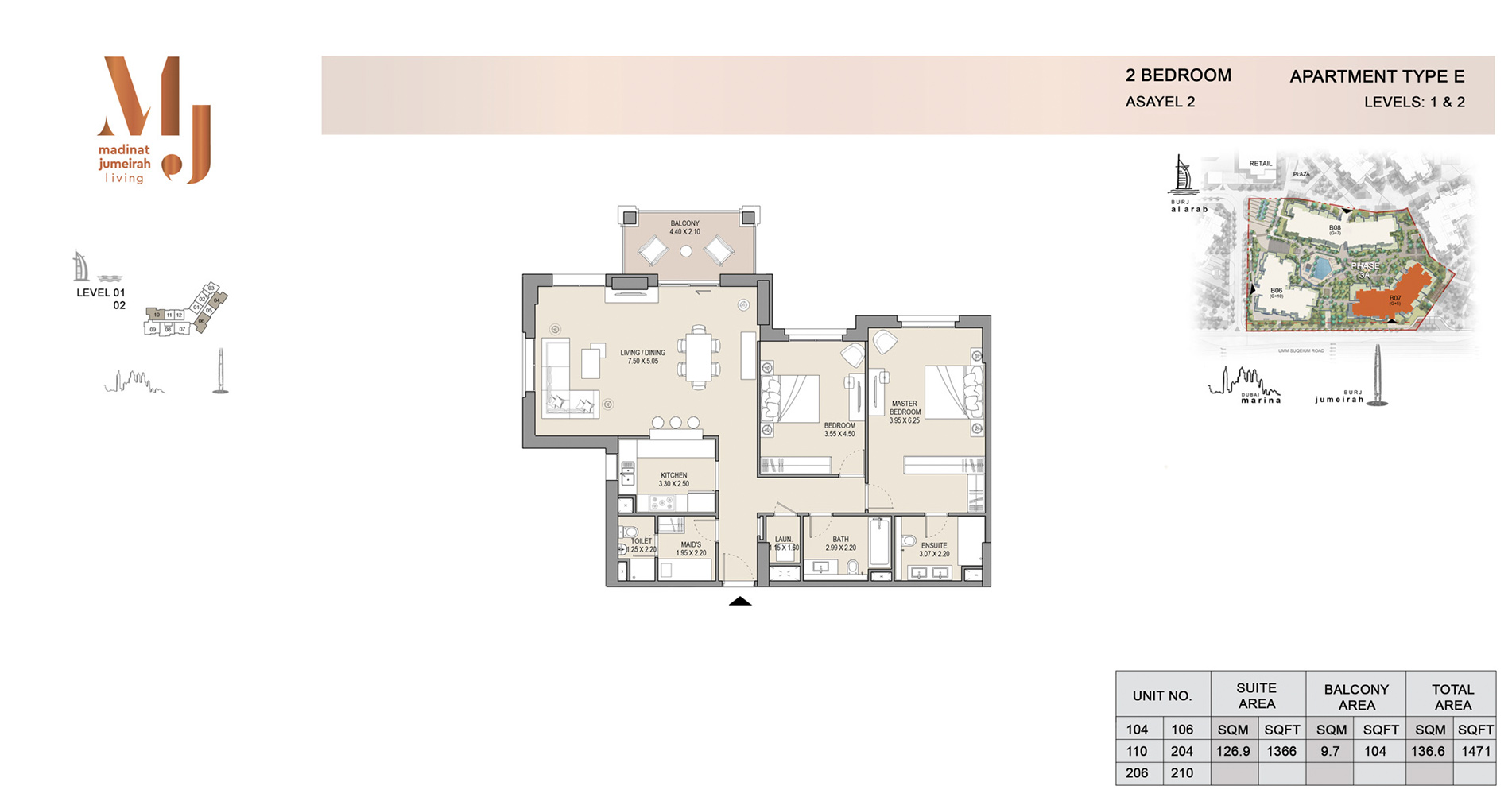 Building 2, 2 Bed Type E Level 1 to 2, Size 1471    sq. ft.