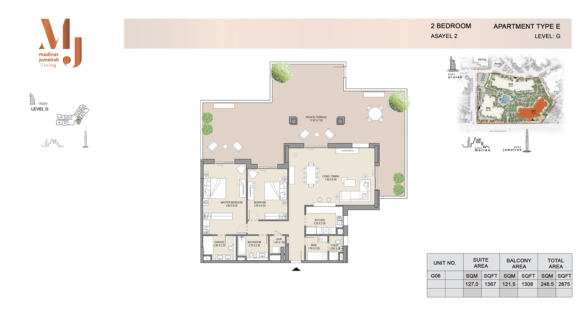 Building 2, 2 Bed Type E Level G, Size 2675    sq. ft.
