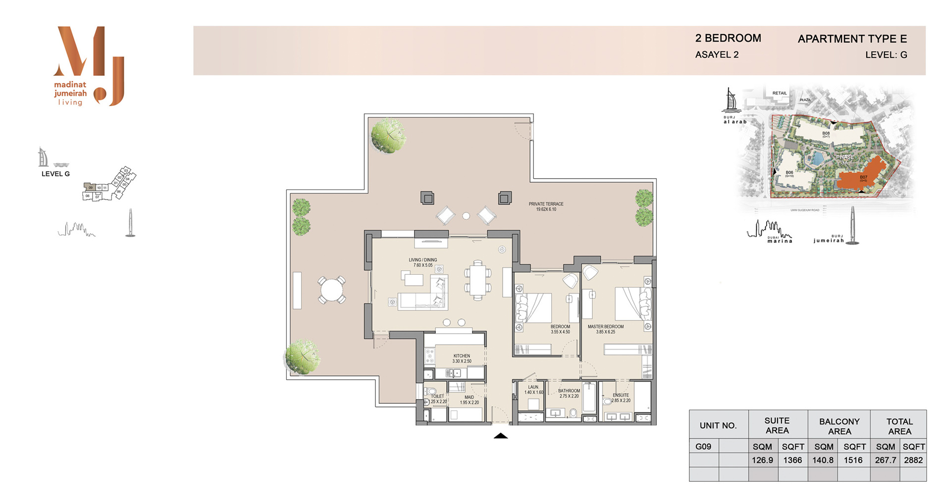 Building 2, 2 Bed Type E Level G, Size 2882    sq. ft.