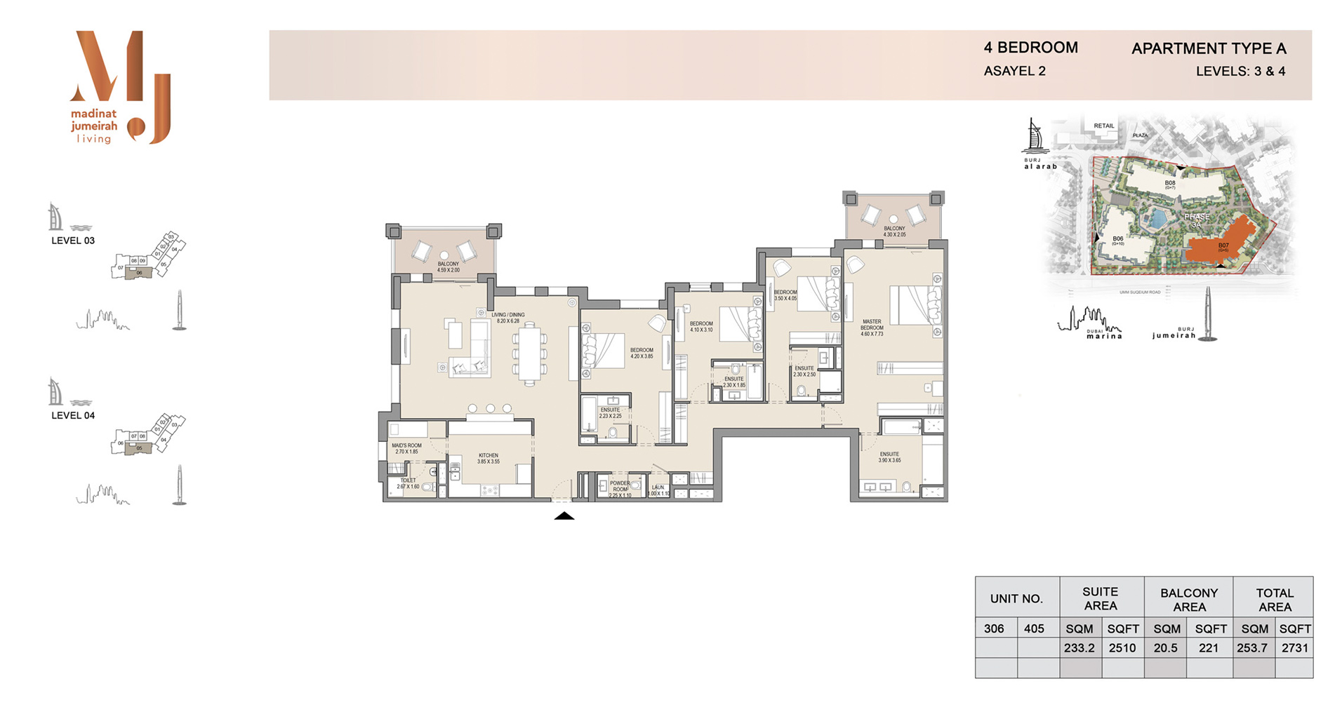 Building 2, 3 Bed Type A Level 3 to 4, Size 2731    sq. ft.