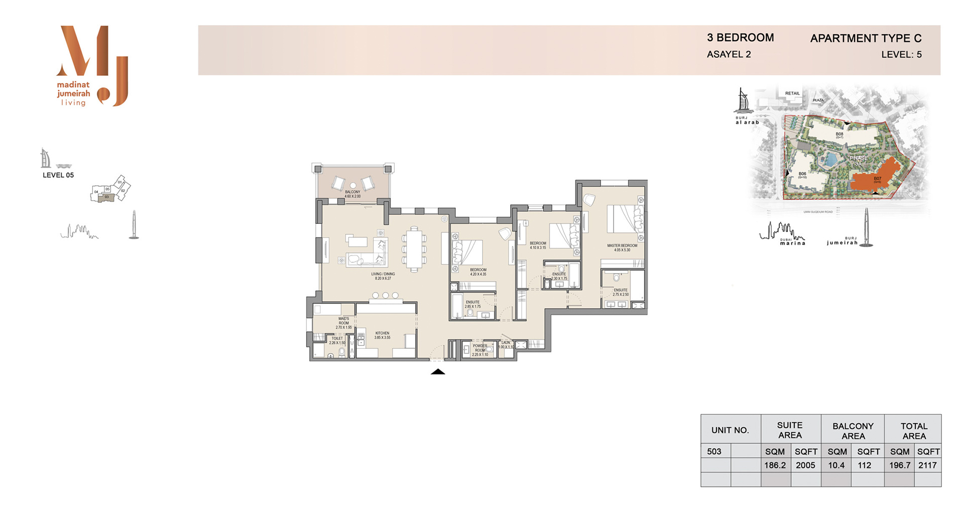 Building 2, 3 Bed Type C Level 5, Size 2117    sq. ft.