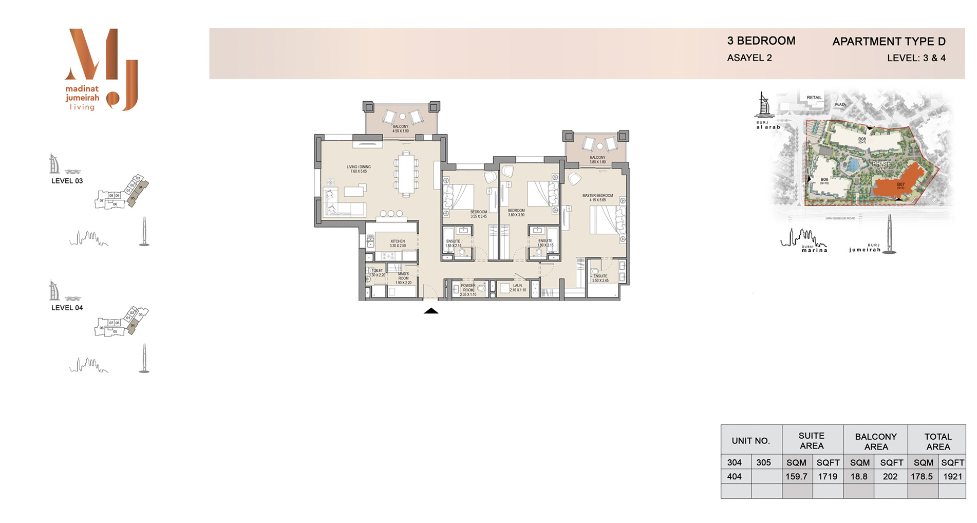 Building 2, 3 Bed Type D Level 3 to 4, Size 1921    sq. ft.