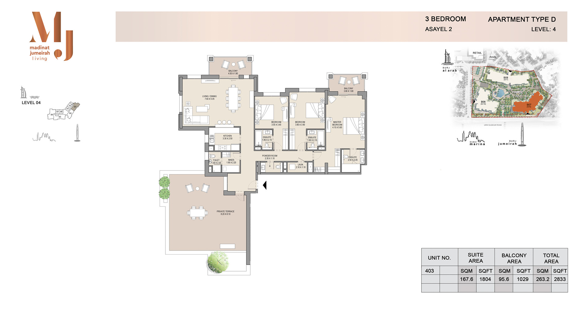 Building 2, 3 Bed Type D Level 4, Size 2833    sq. ft.