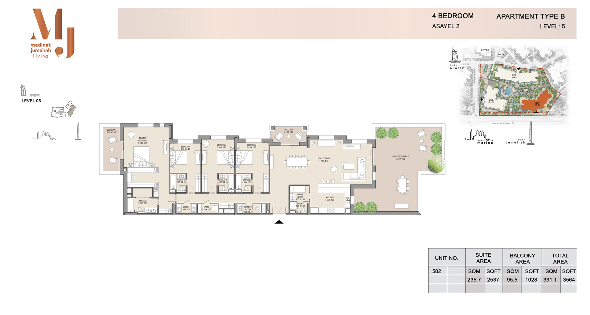 Building 2, 4 Bed Type B Level 5, Size 3564    sq. ft.