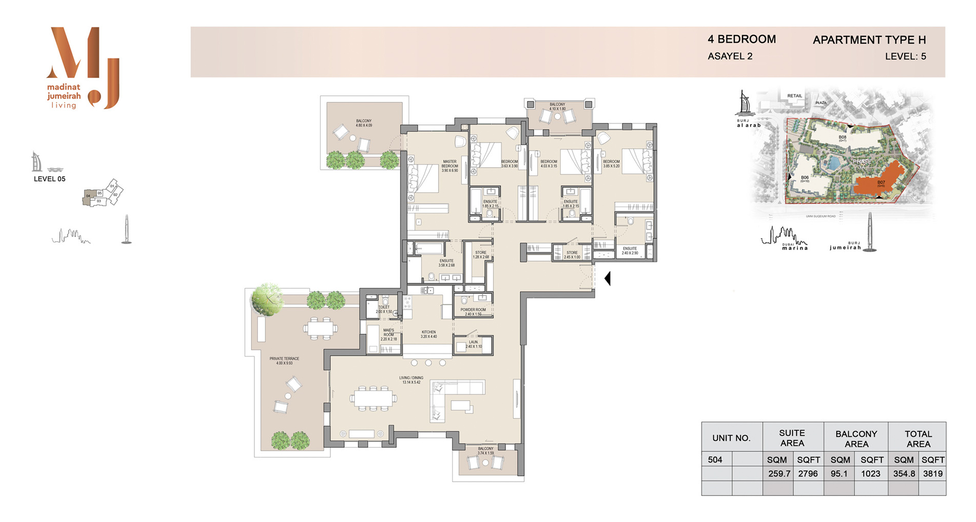 Building 2, 4 Bed Type H Level 5, Size 3819    sq. ft.