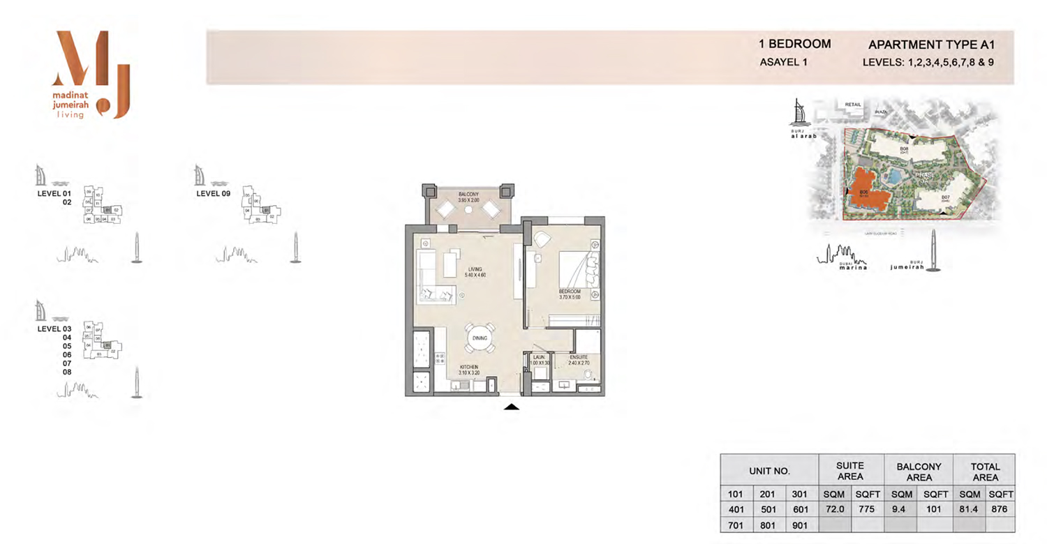 1 Bedroom Type A1, Level 1 to 9, Size 876 Sq Ft