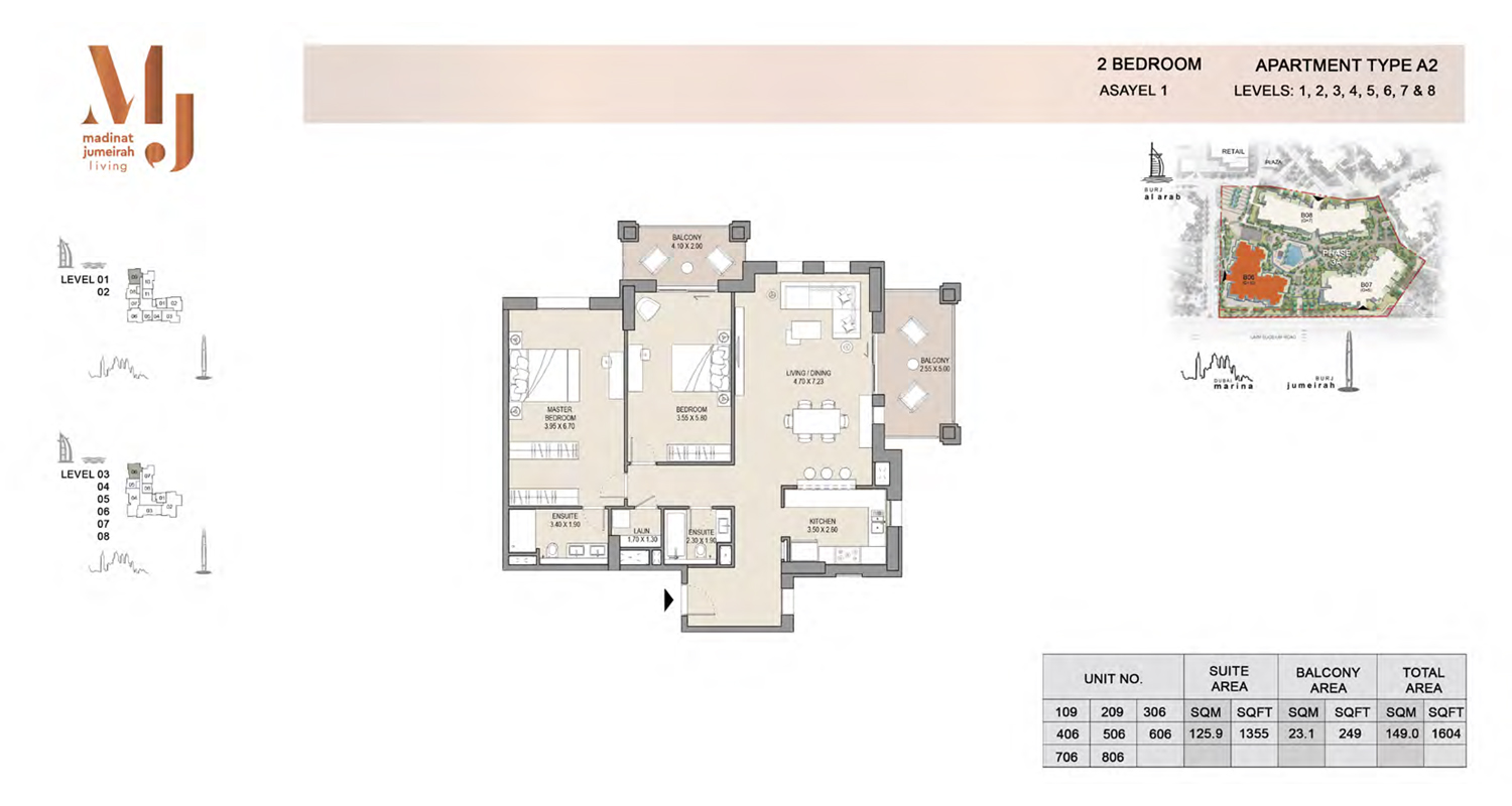 2 Bedroom Type A2, Level 1 to 8, Size 1604 Sq Ft