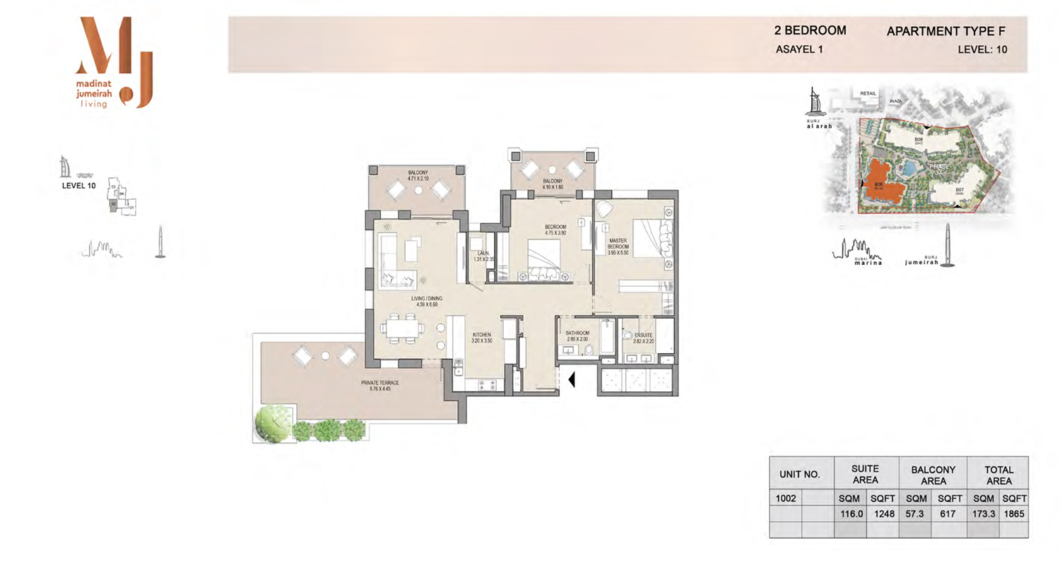 2 Bedroom Type A2, Level 10, Size 1865 Sq Ft