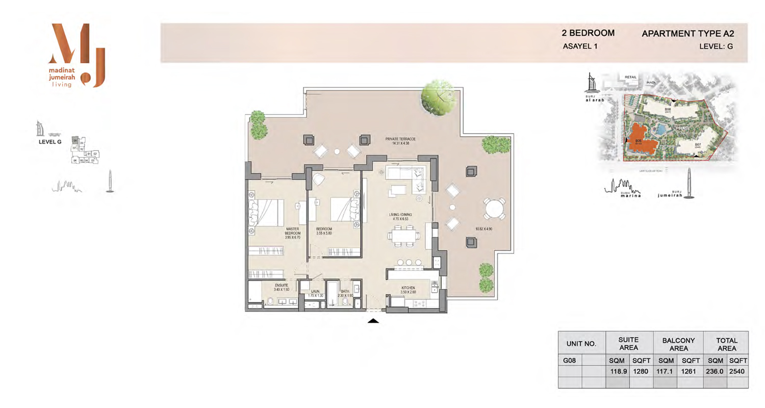 2 Bedroom Type A2, Level G, Size 2540 Sq Ft