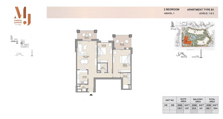 2 Bedroom Type B1, Level 1 & 2, Size 1504 Sq Ft