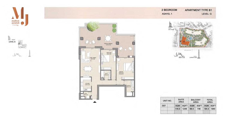 2 Bedroom Type B1, Level G, Size 1984 Sq Ft