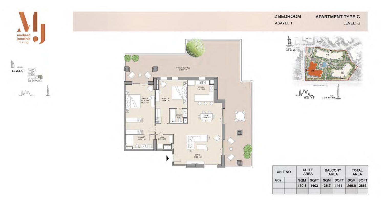 2 Bedroom Type C, Level G, Size 2863 Sq Ft