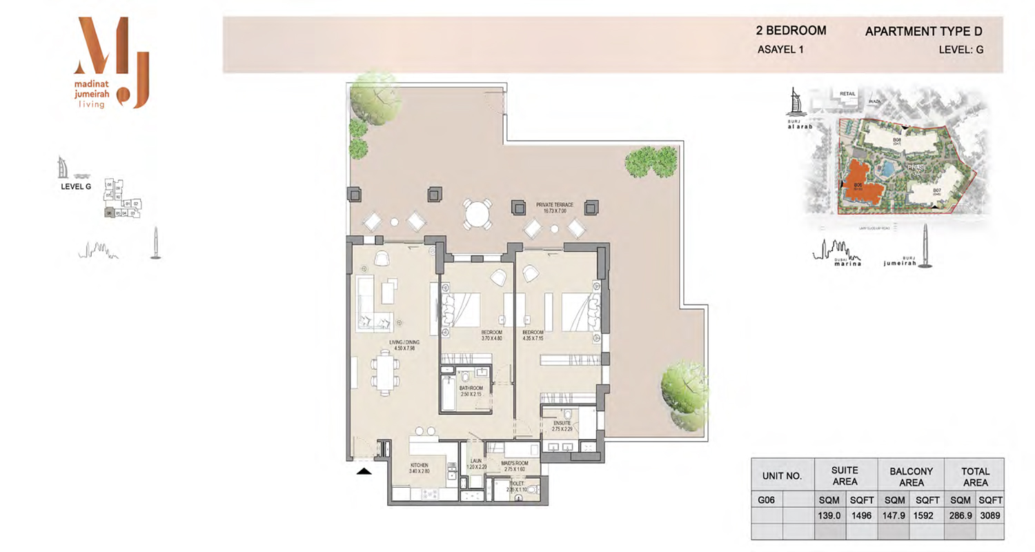 2 Bedroom Type D, Level G, Size 3089 Sq Ft