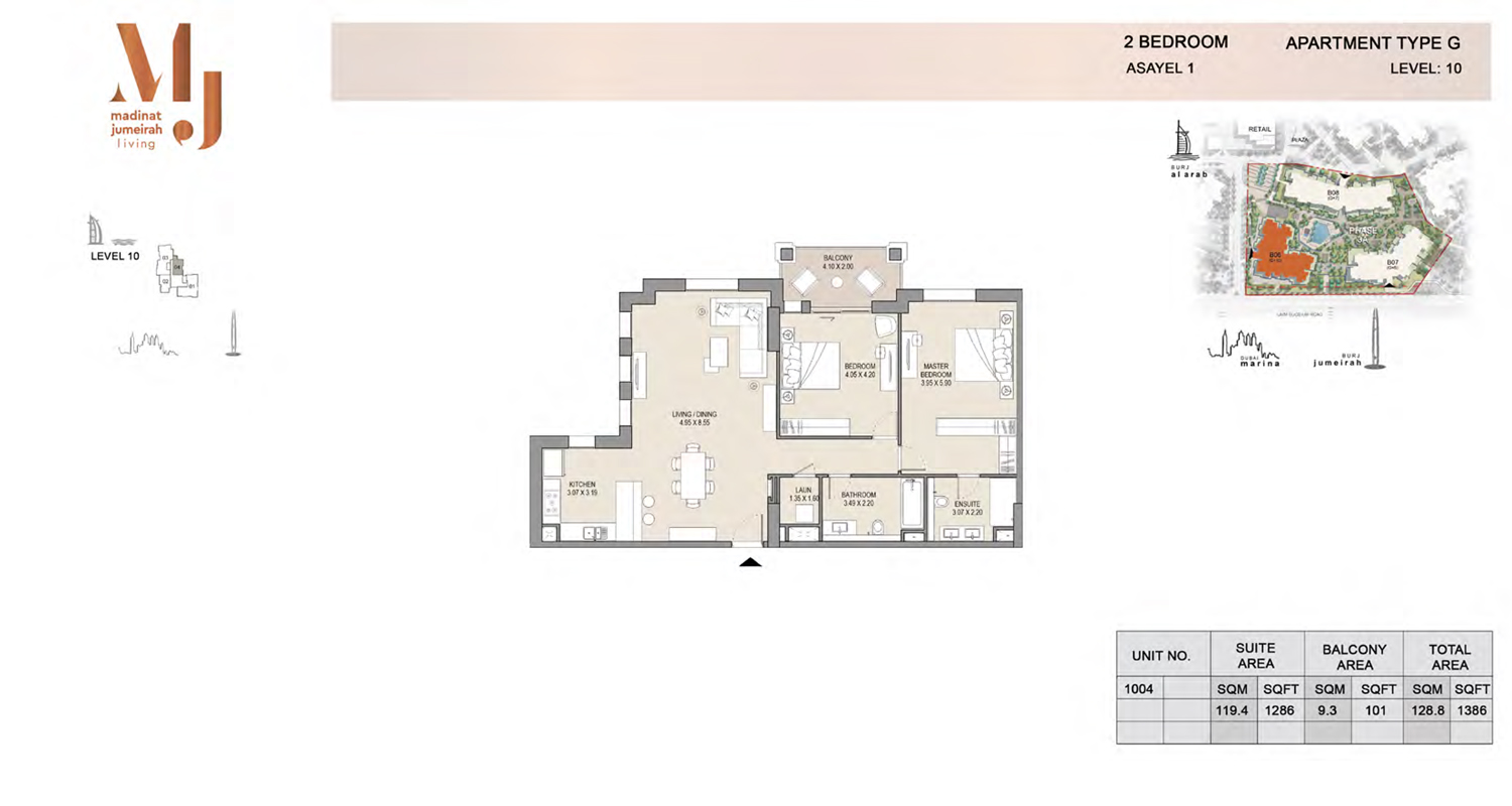 2 Bedroom Type G, Level 10, Size 1386 Sq Ft
