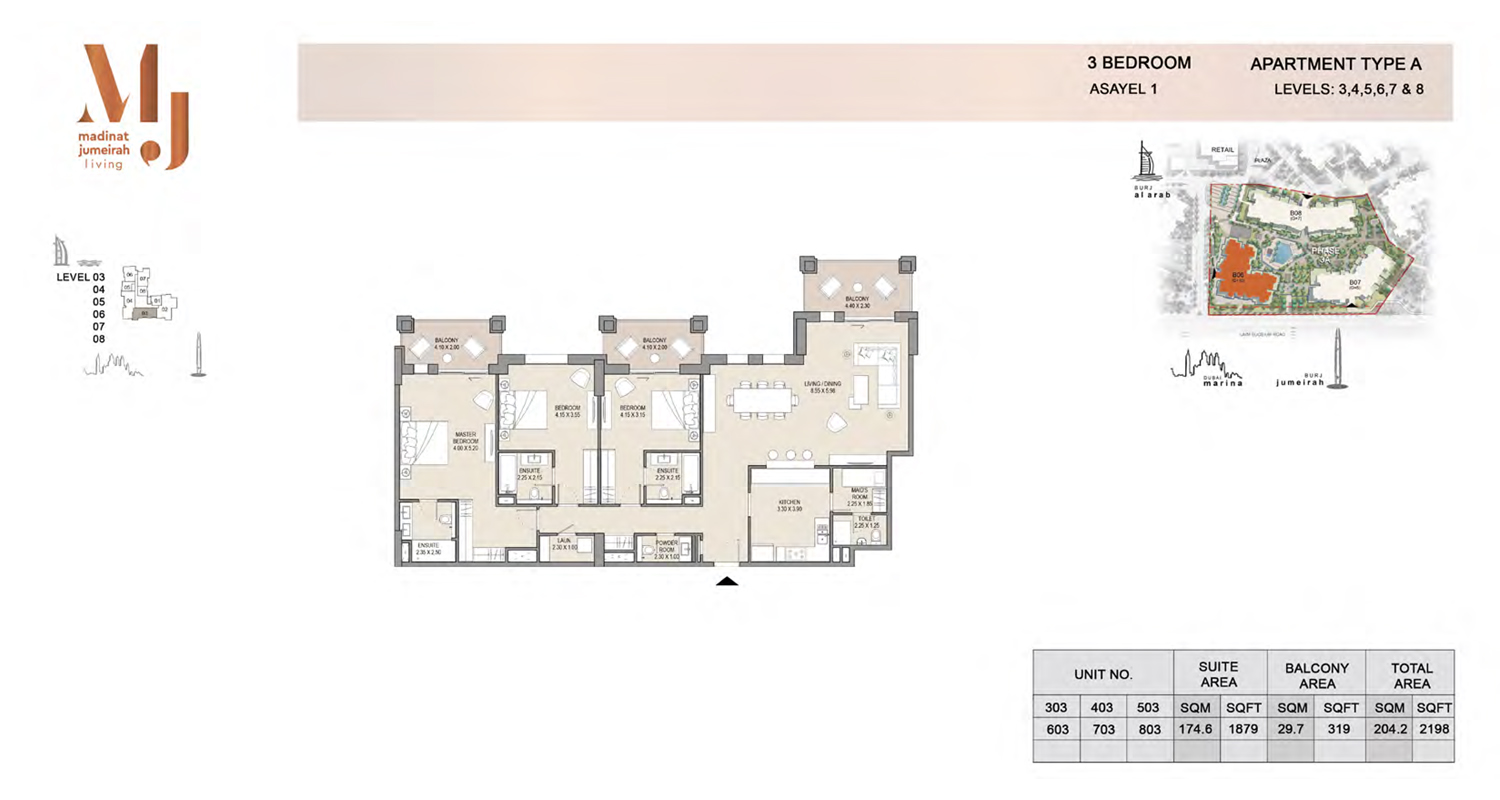 3 Bedroom Type A, Level 3 to 8, Size 2198 Sq Ft