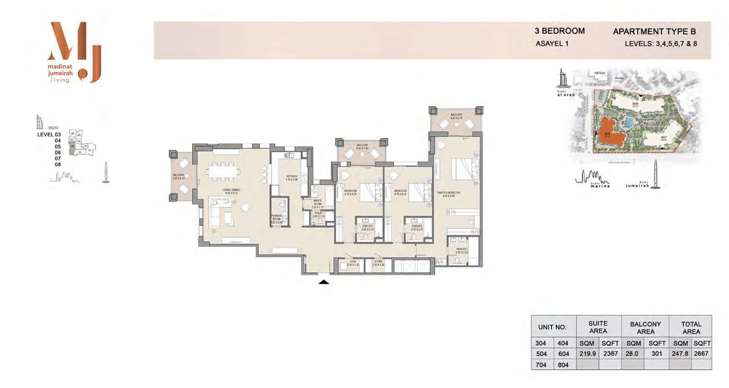 3 Bedroom Type B, Level 3 to 8, Size 2667 Sq Ft