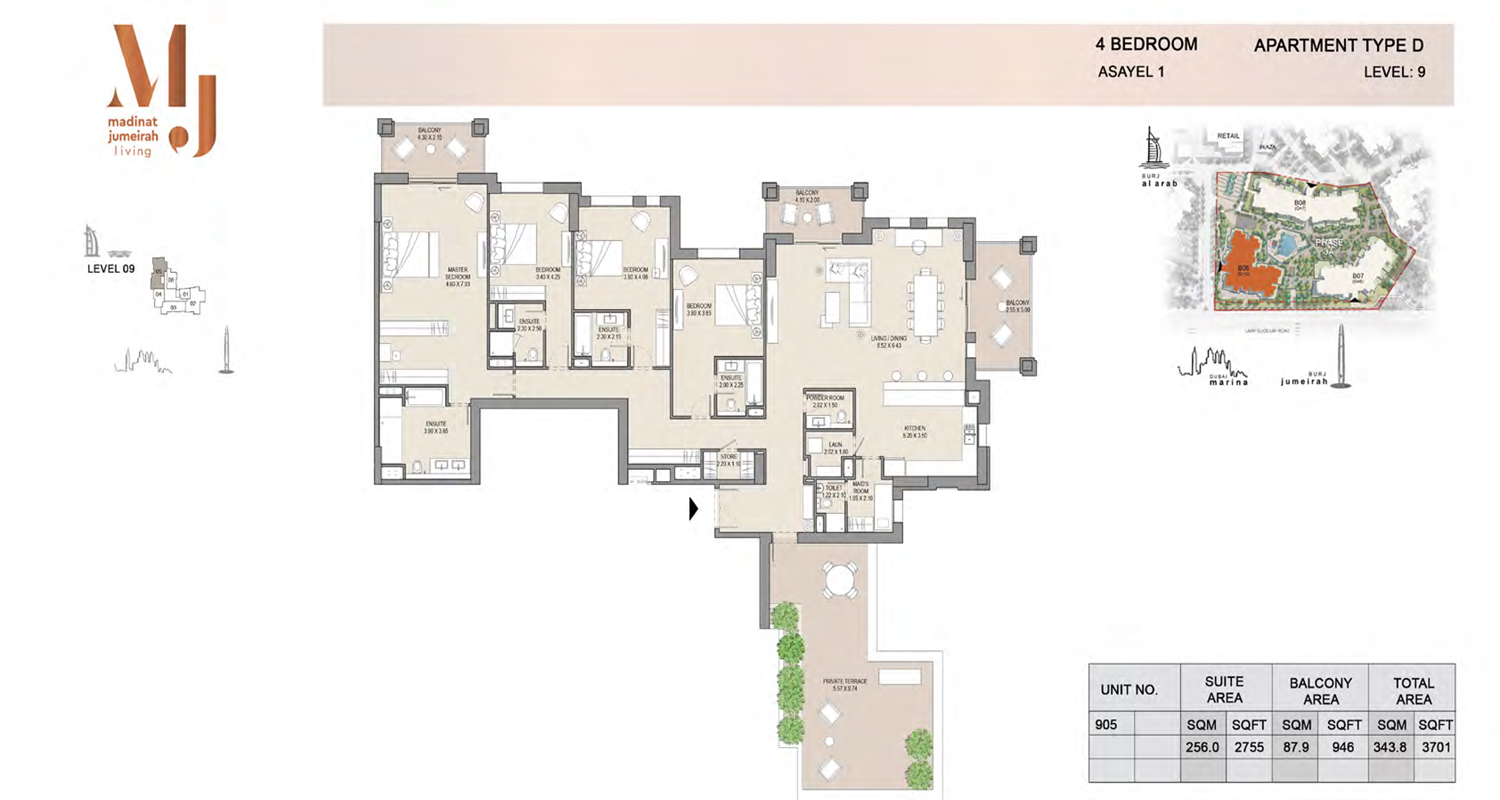 4 Bedroom Type D, Level 9, Size 3701 Sq Ft