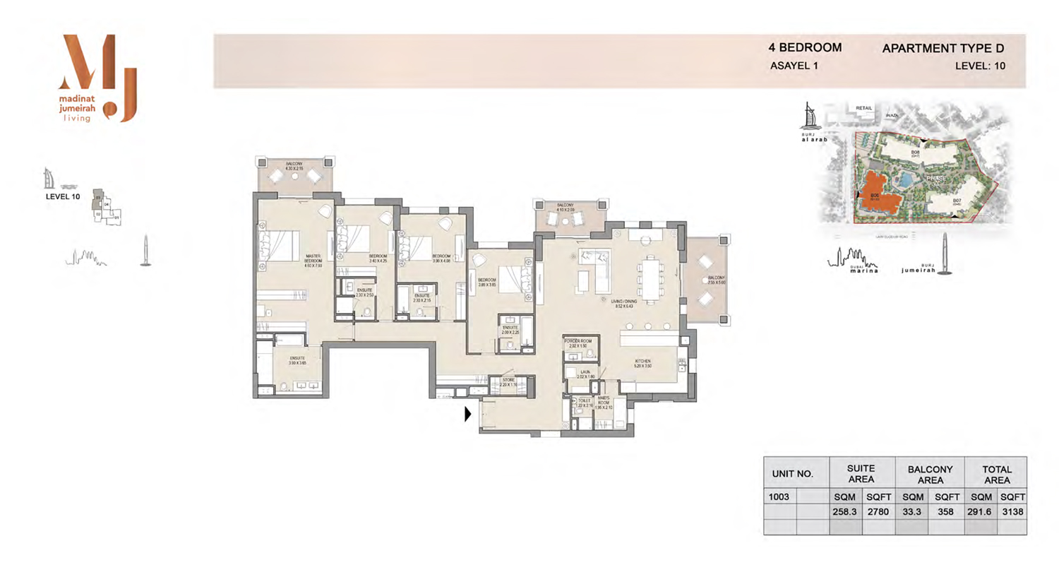 4 Bedroom Type D, Level 10, Size 3138 Sq Ft