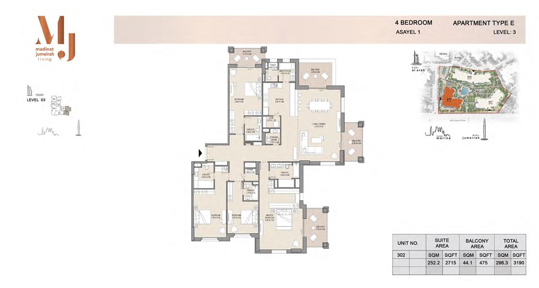 4 Bedroom Type E, Level 3, Size 3190 Sq Ft