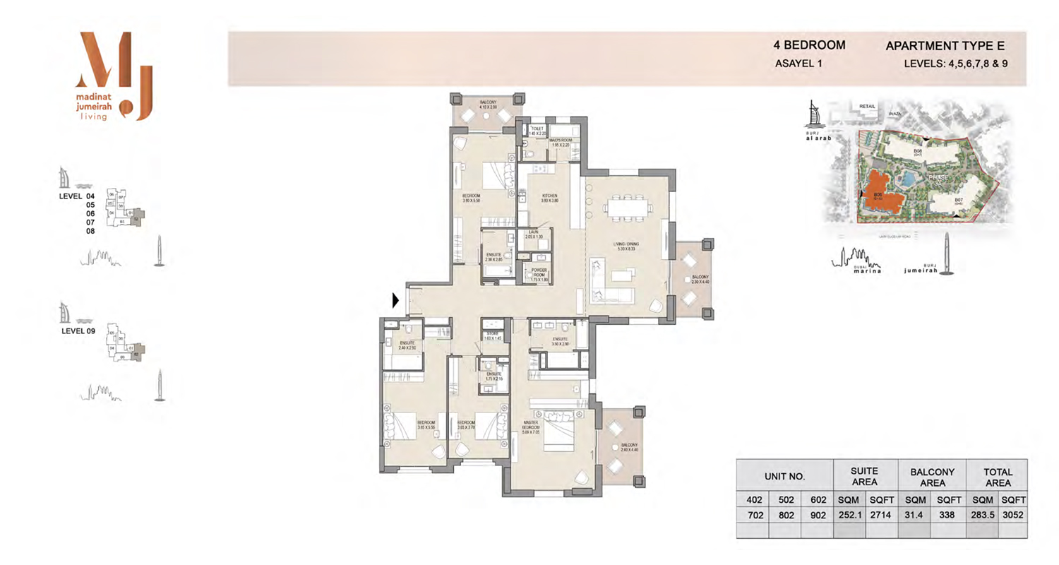 4 Bedroom Type E, Level 4 to 9, Size 3152 Sq Ft