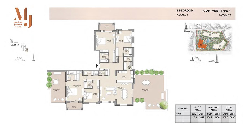 4 Bedroom Type F, Level 10, Size 3897 Sq Ft